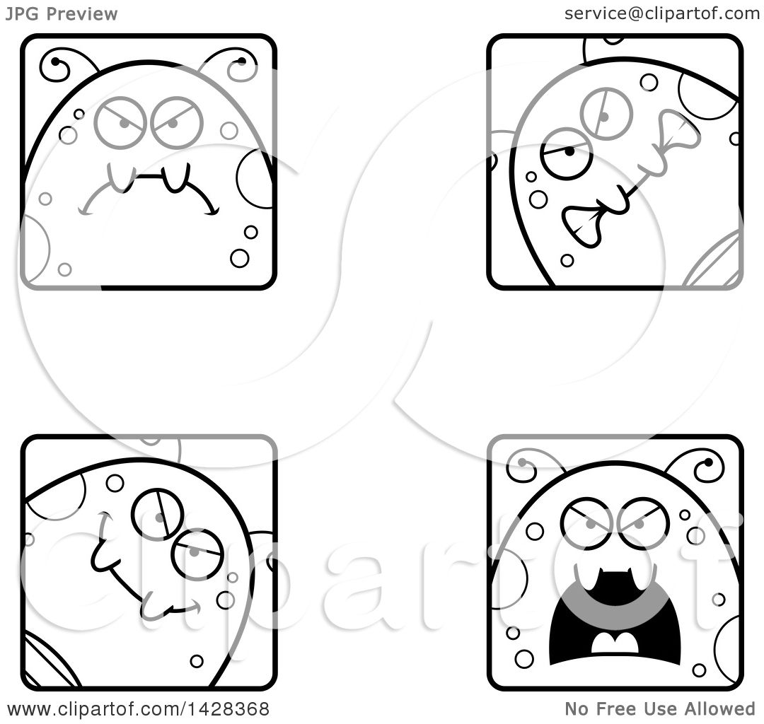 Clipart Of Black And White Lineart Mad Fly Faces