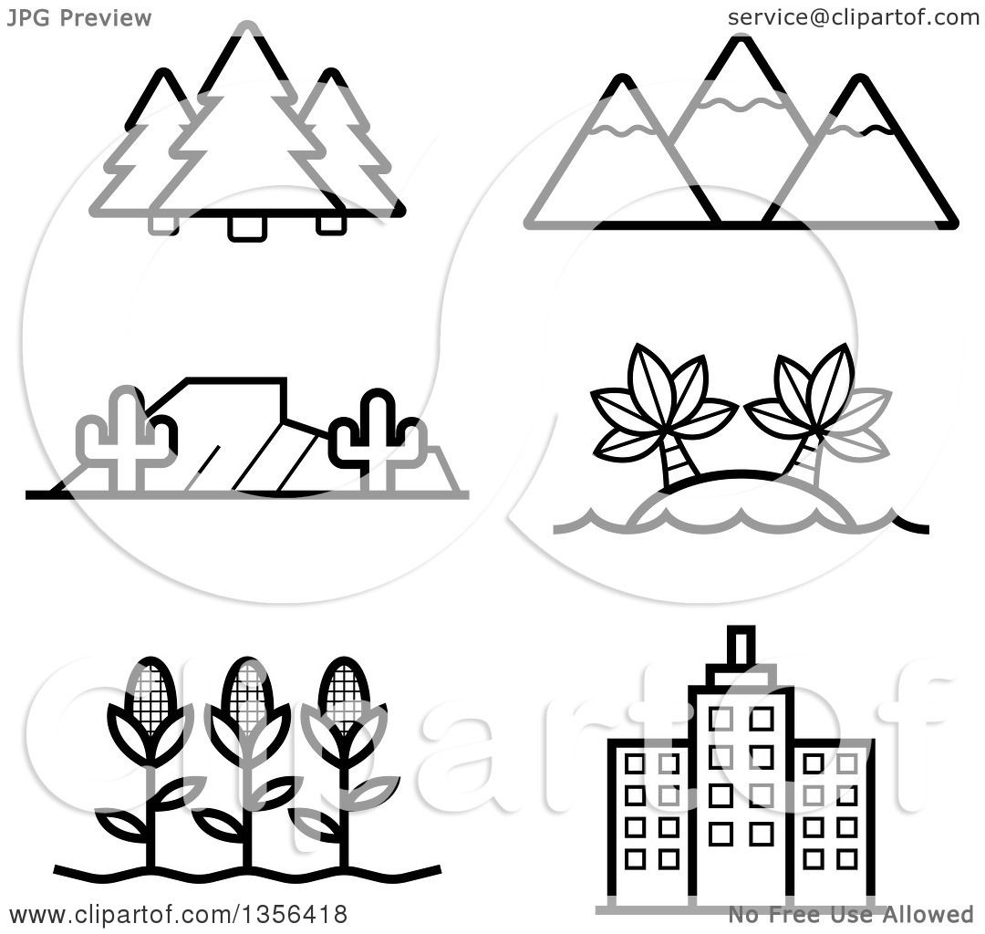 Clipart of Black and White Lineart Nature, Agriculture and