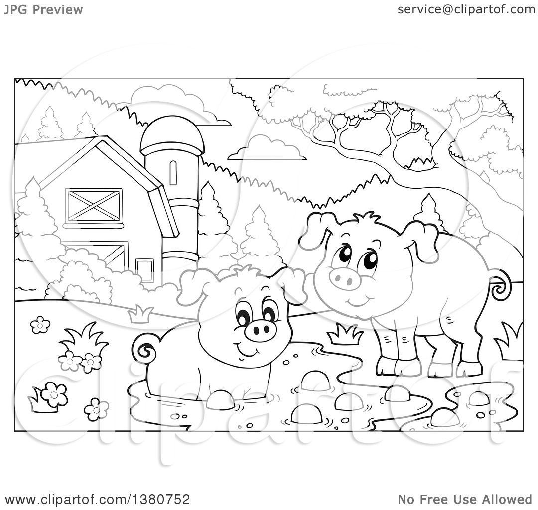 Clipart Of Black And White Lineart Pigs At A Mud Puddle In