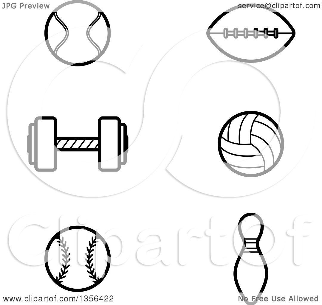 Clipart Of Black And White Lineart Tennis Football