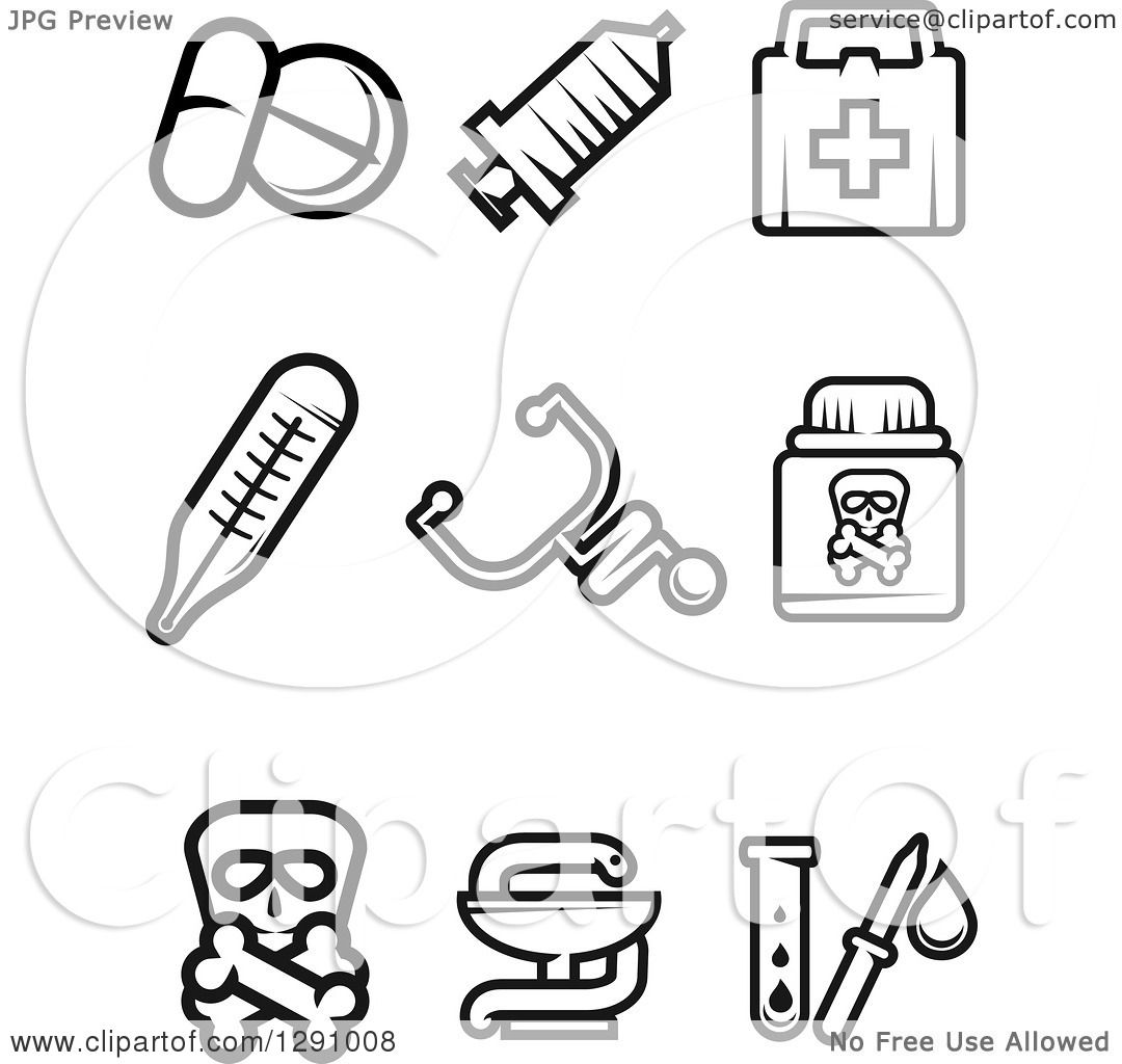 Clipart of Black and White Medicine and Pharmacy Icons