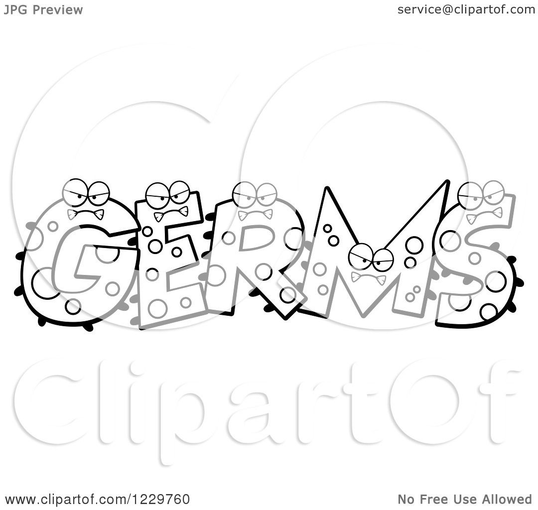 Clipart of Black and White Monsters Forming the Word Germs
