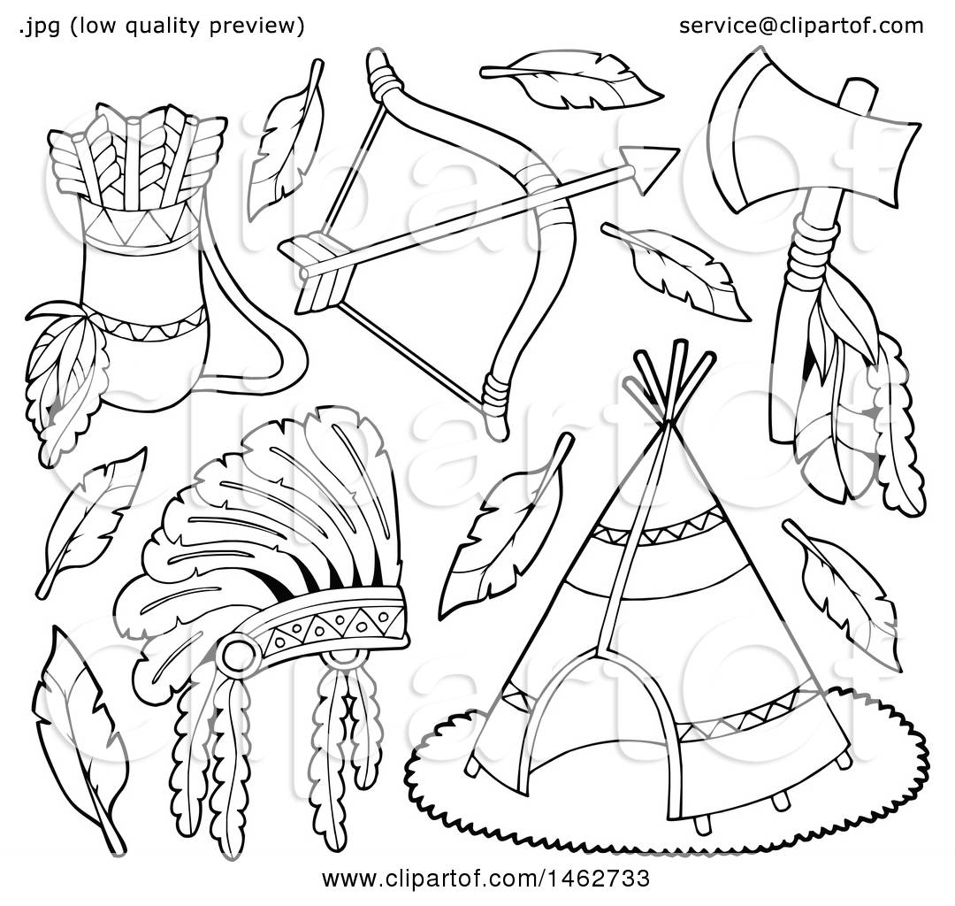 Clipart of Black and White Native American Arrows, Bow