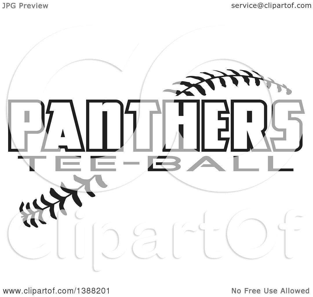 Clipart Of Black And White Panthers Tee Ball Text Over