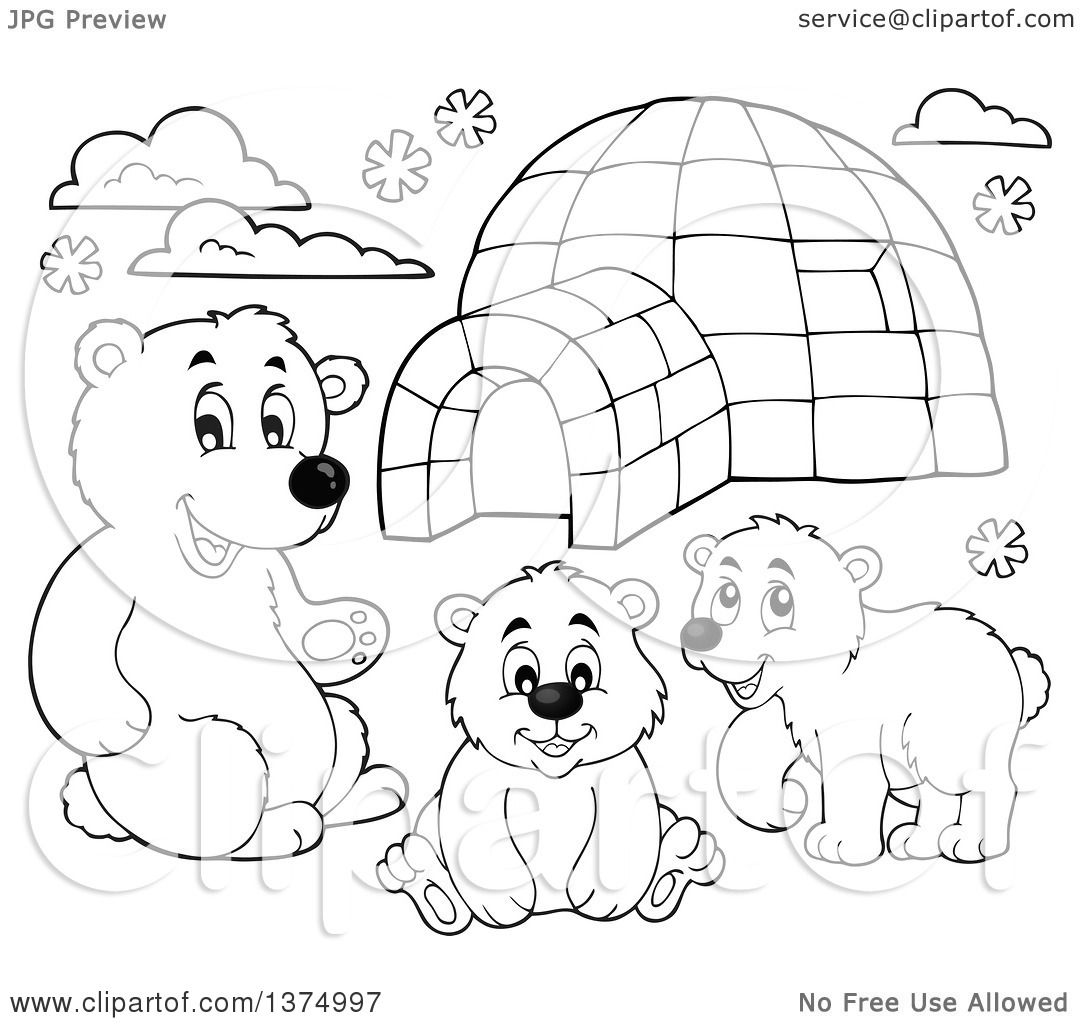 Clipart Of Black And White Polar Bears By An Igloo