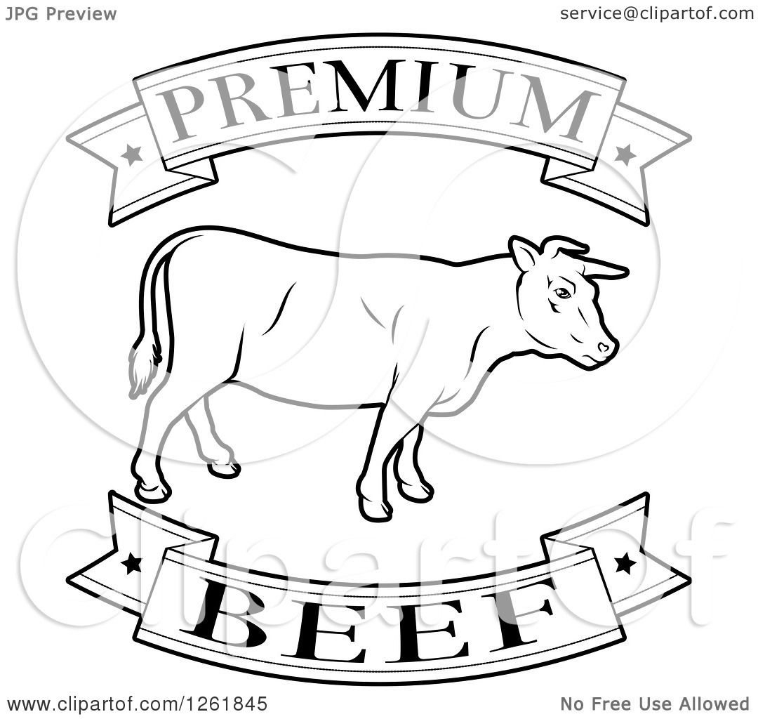 Clipart Of Black And White Premium Beef Food Banners And Cow