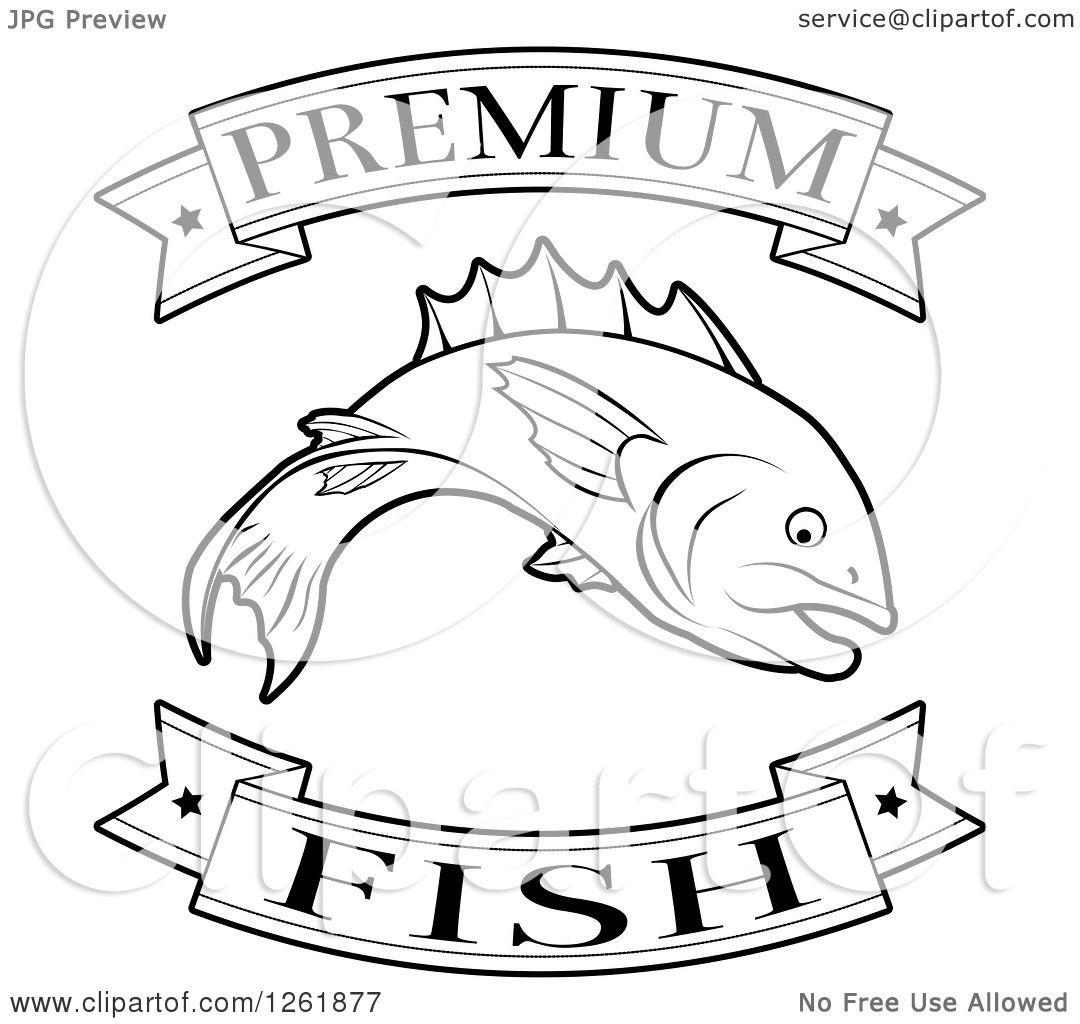 Clipart Of Black And White Premium Fish Food Banners