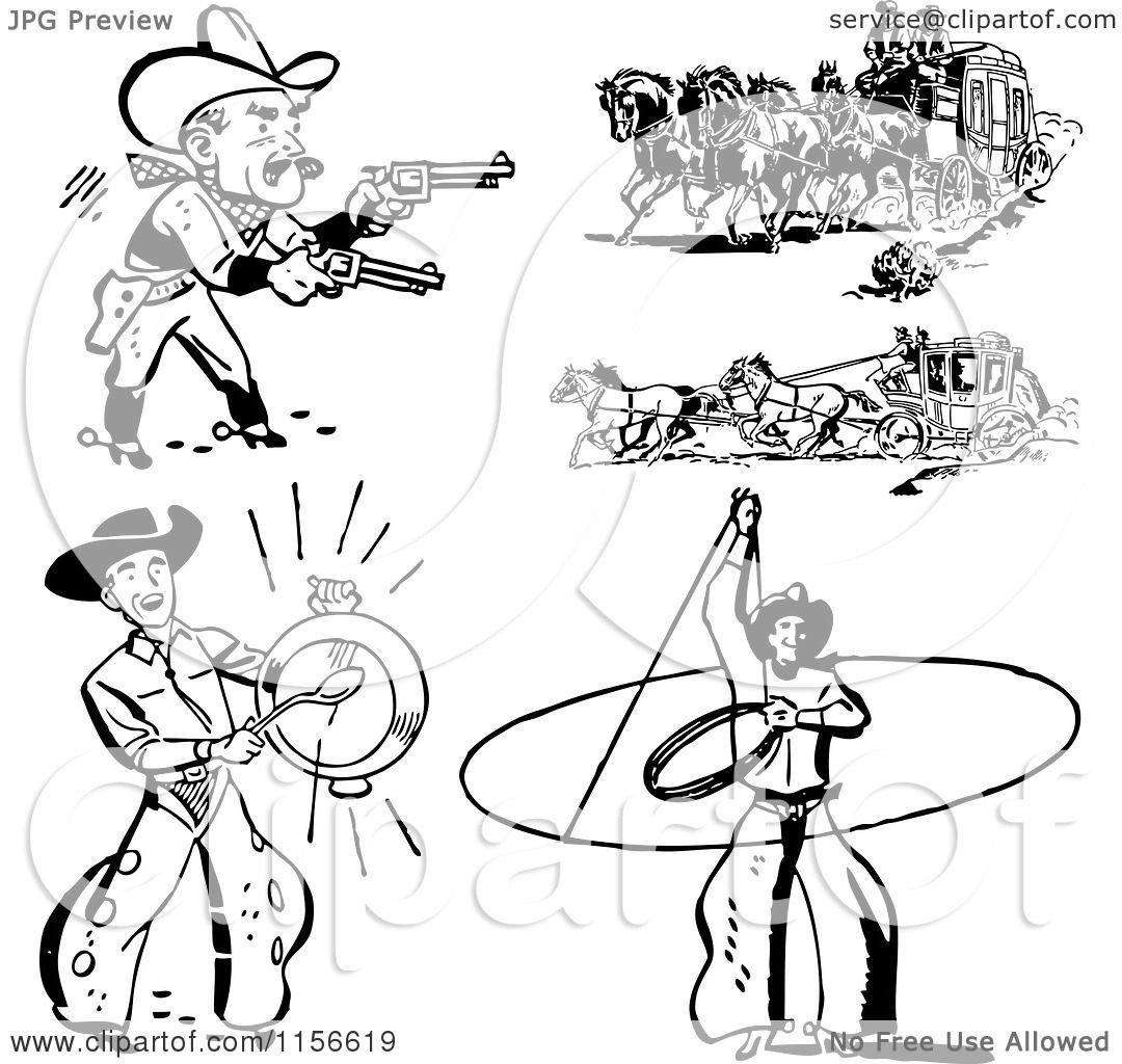 Clipart Of Black And White Retro Western Cowboys And Stage