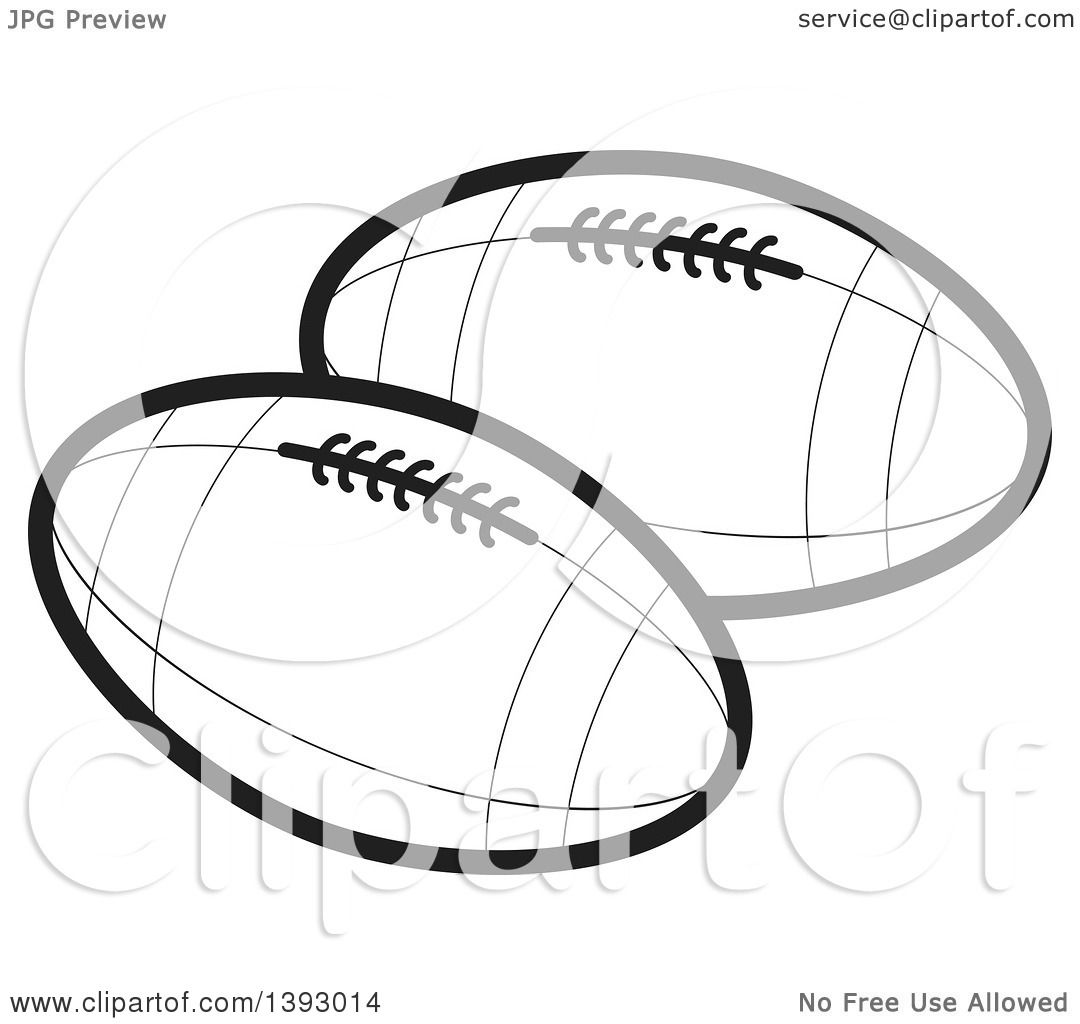 Clipart Of Black And White Rugby Footballs