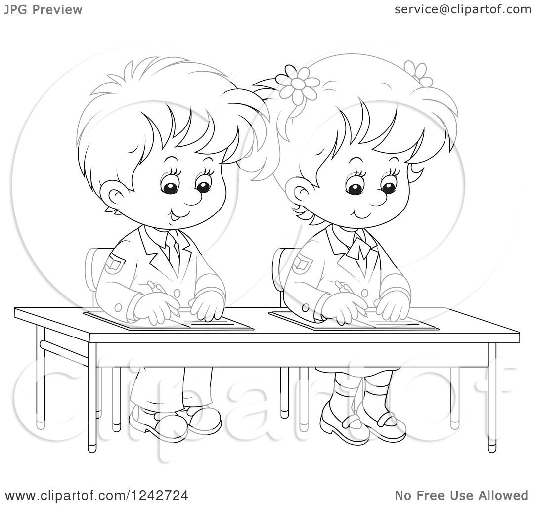 Clipart of Black and White School Children Writing at
