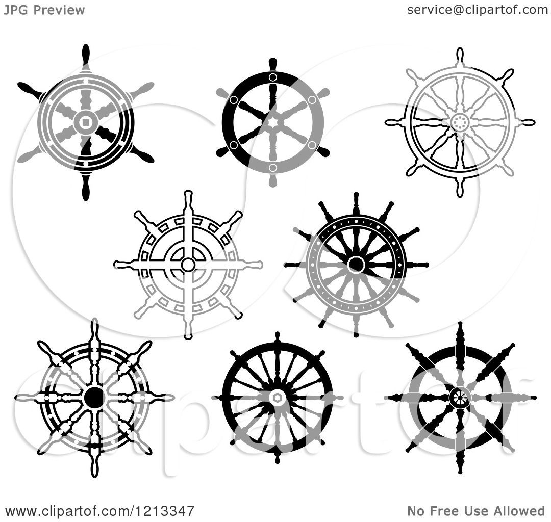 Clipart Of Black And White Ship Steering Wheel Helms
