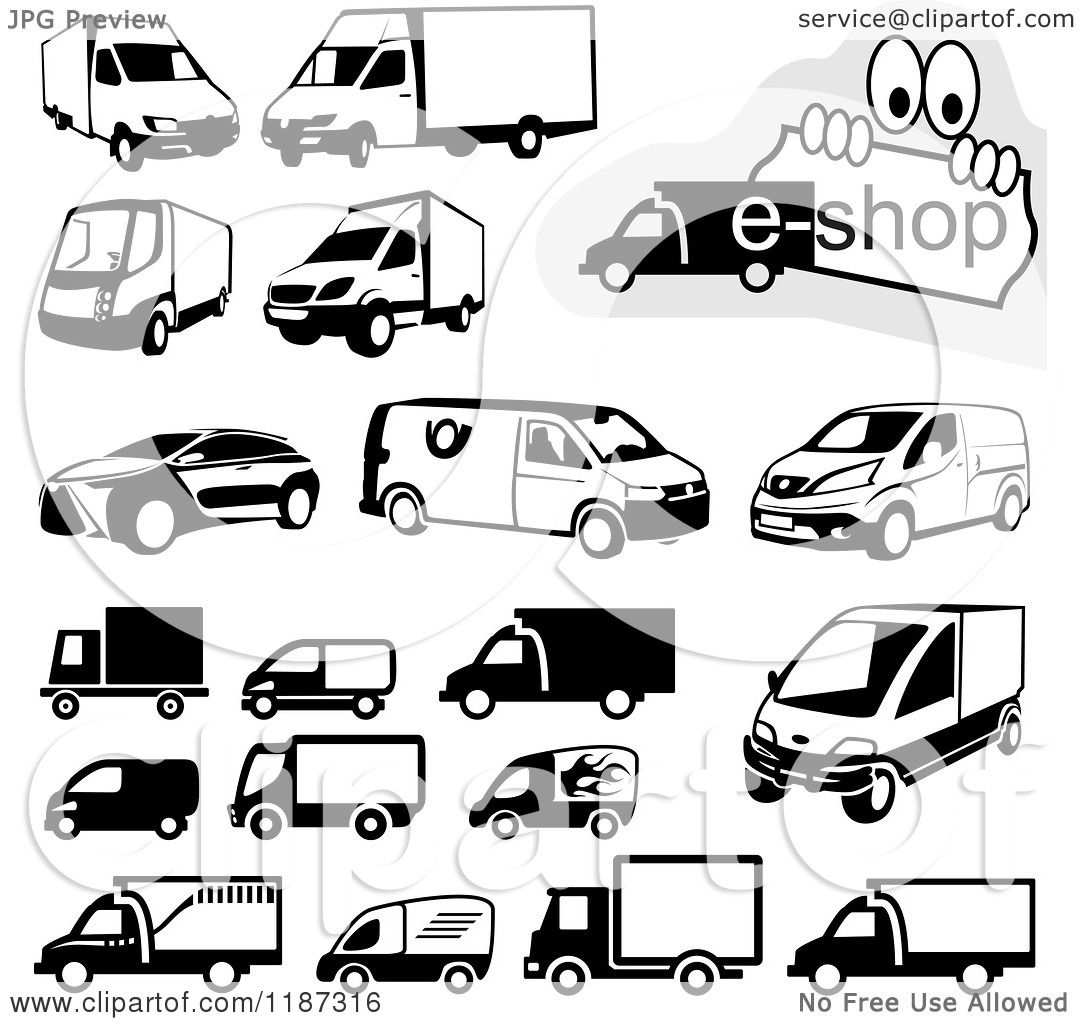 Clipart Of Black And White Shipping Van And Truck Icons