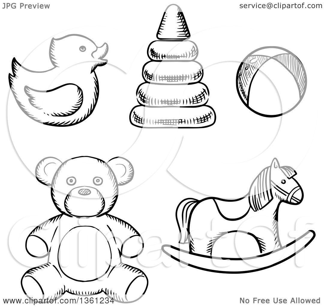 Clipart Of Black And White Sketched Baby Toys