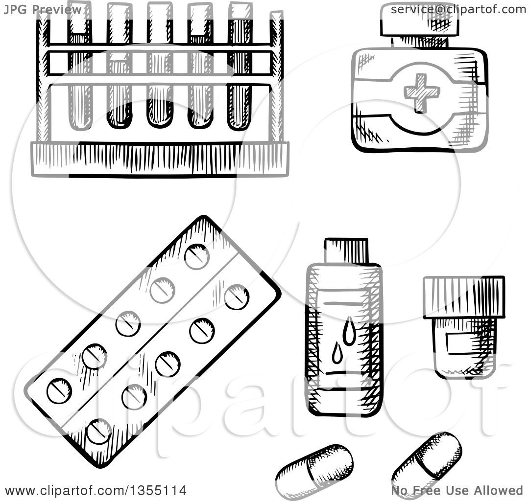 Clipart Of Black And White Sketched Blood Test Tubes