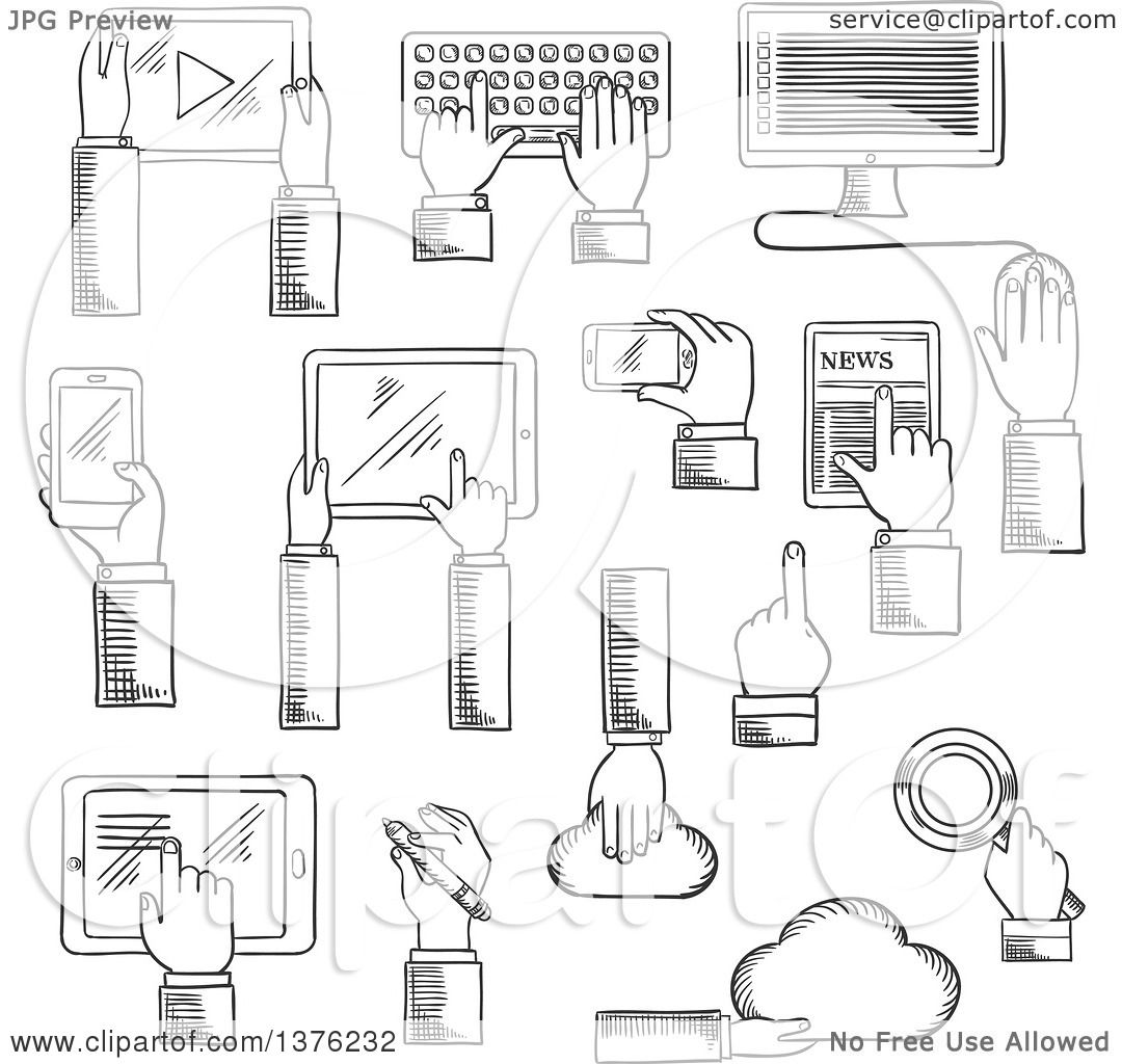 Clipart Of Black And White Sketched Human Hands Working On