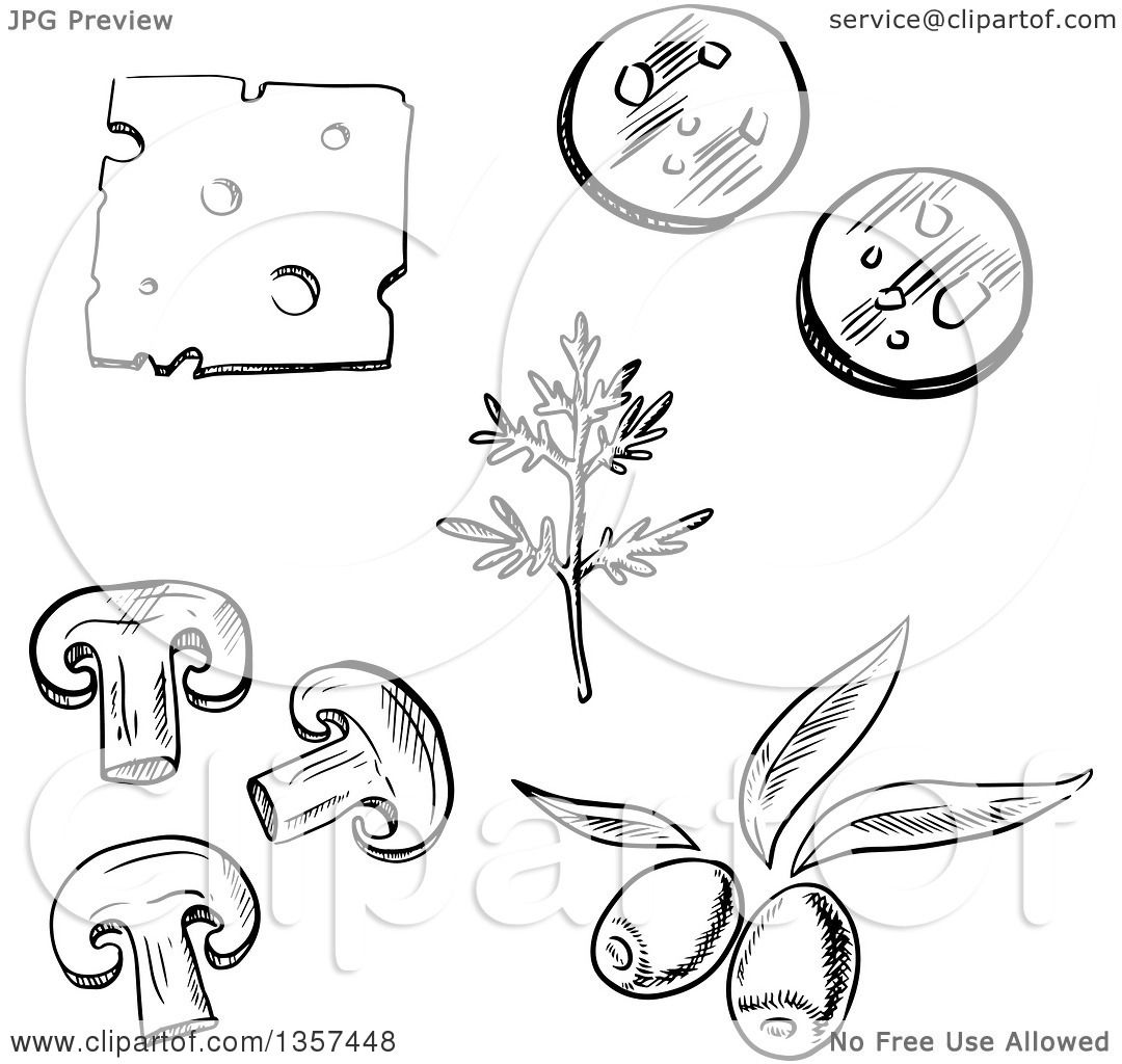 Clipart Of Black And White Sketched Pizza Toppings Cheese