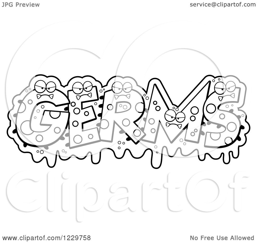 Clipart of Black and White Slimy Monsters Forming the Word