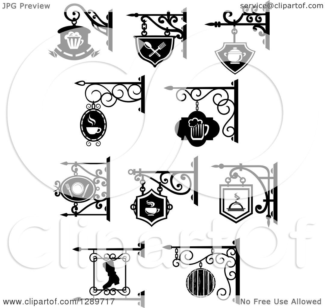 Clipart Of Black And White Storefront Shingle Signs