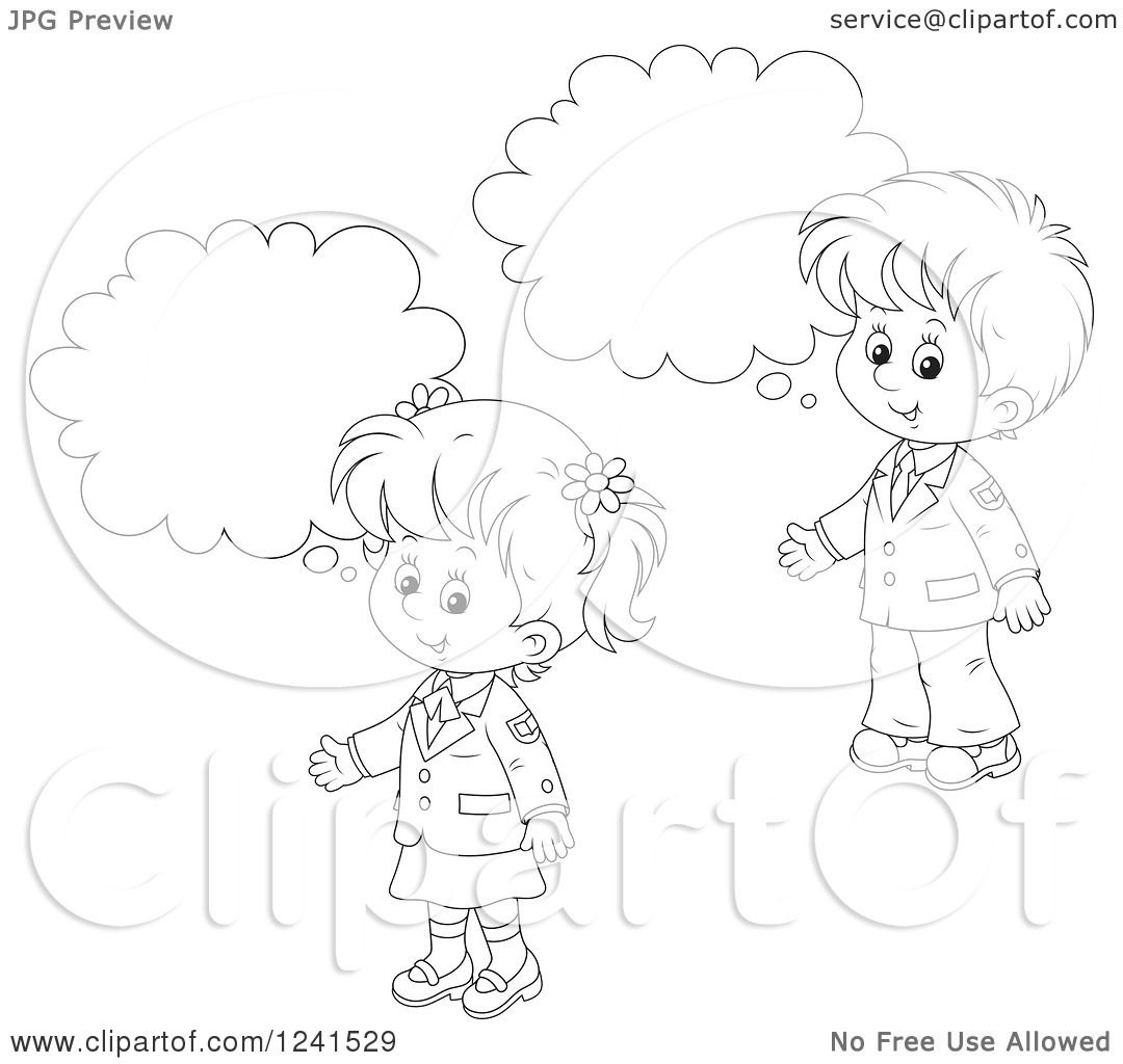 Clipart Of Black And White Thinking School Children 2