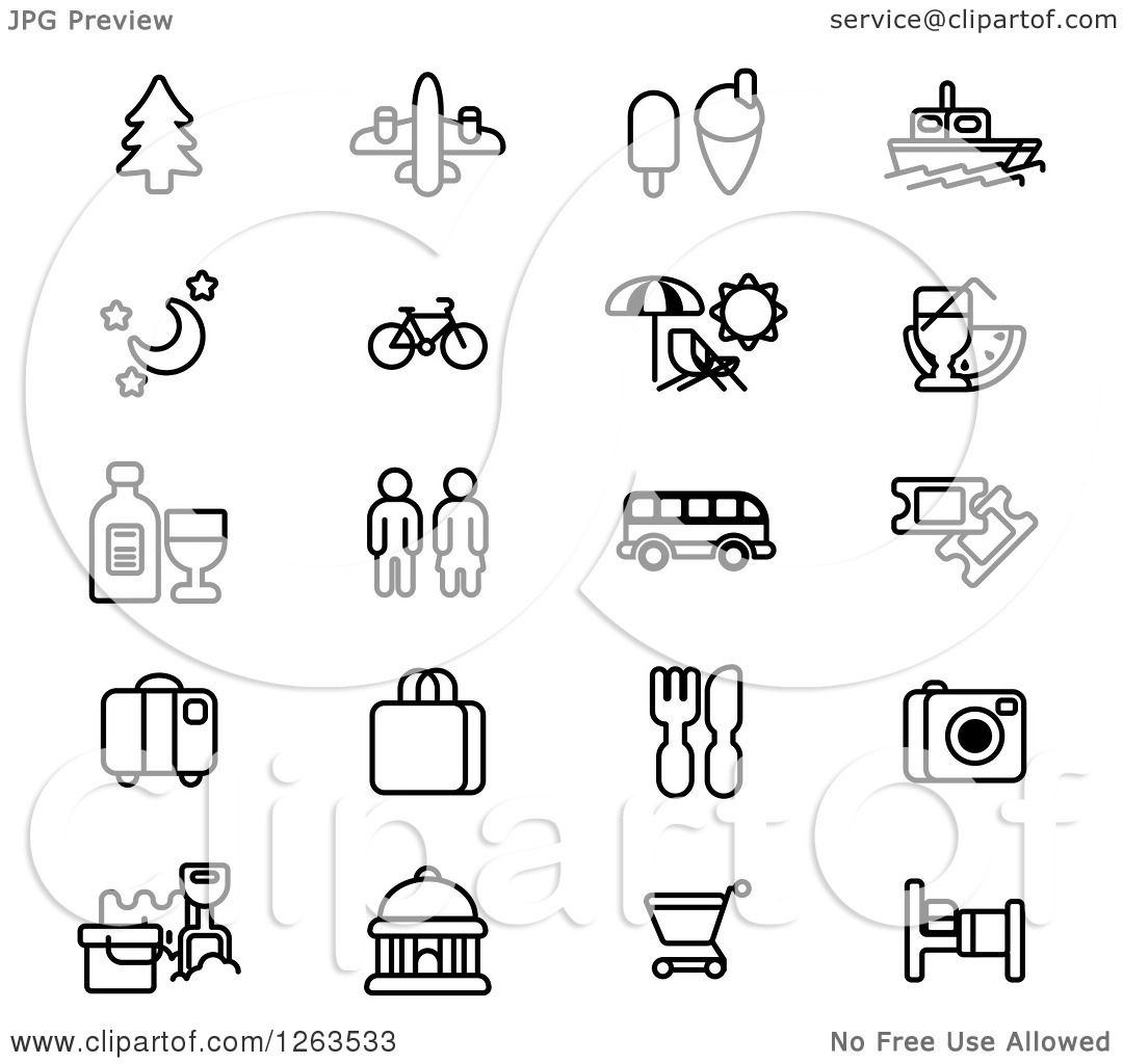 Clipart Of Black And White Tourist Icons