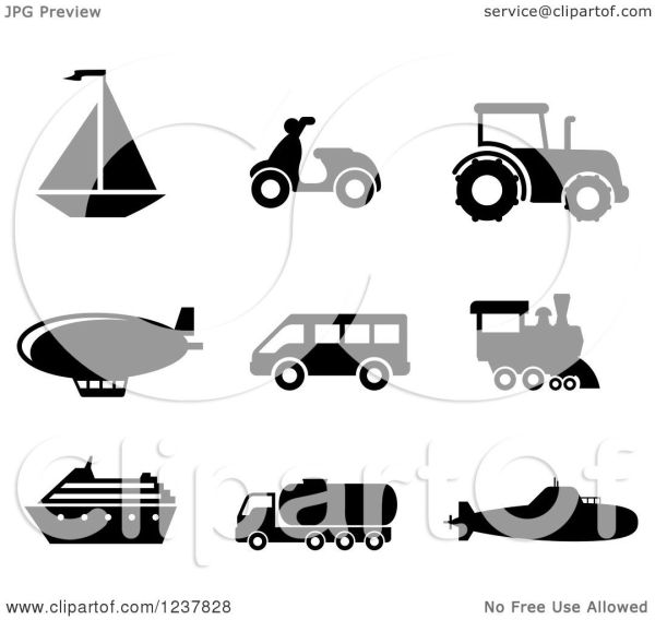 Clipart Of Black And White Transportation Icons - Royalty