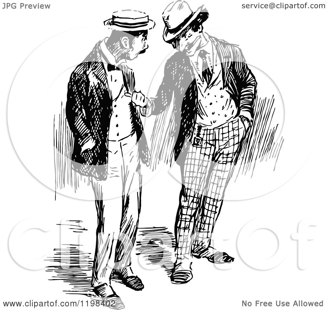 Clipart Of Black And White Vintage Two Men Talking 4