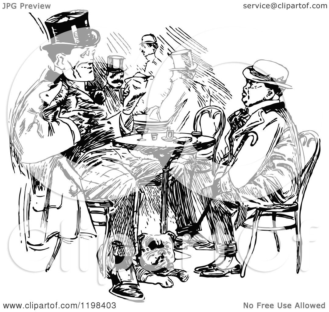 Clipart Of Black And White Vintage Two Men Talking At A