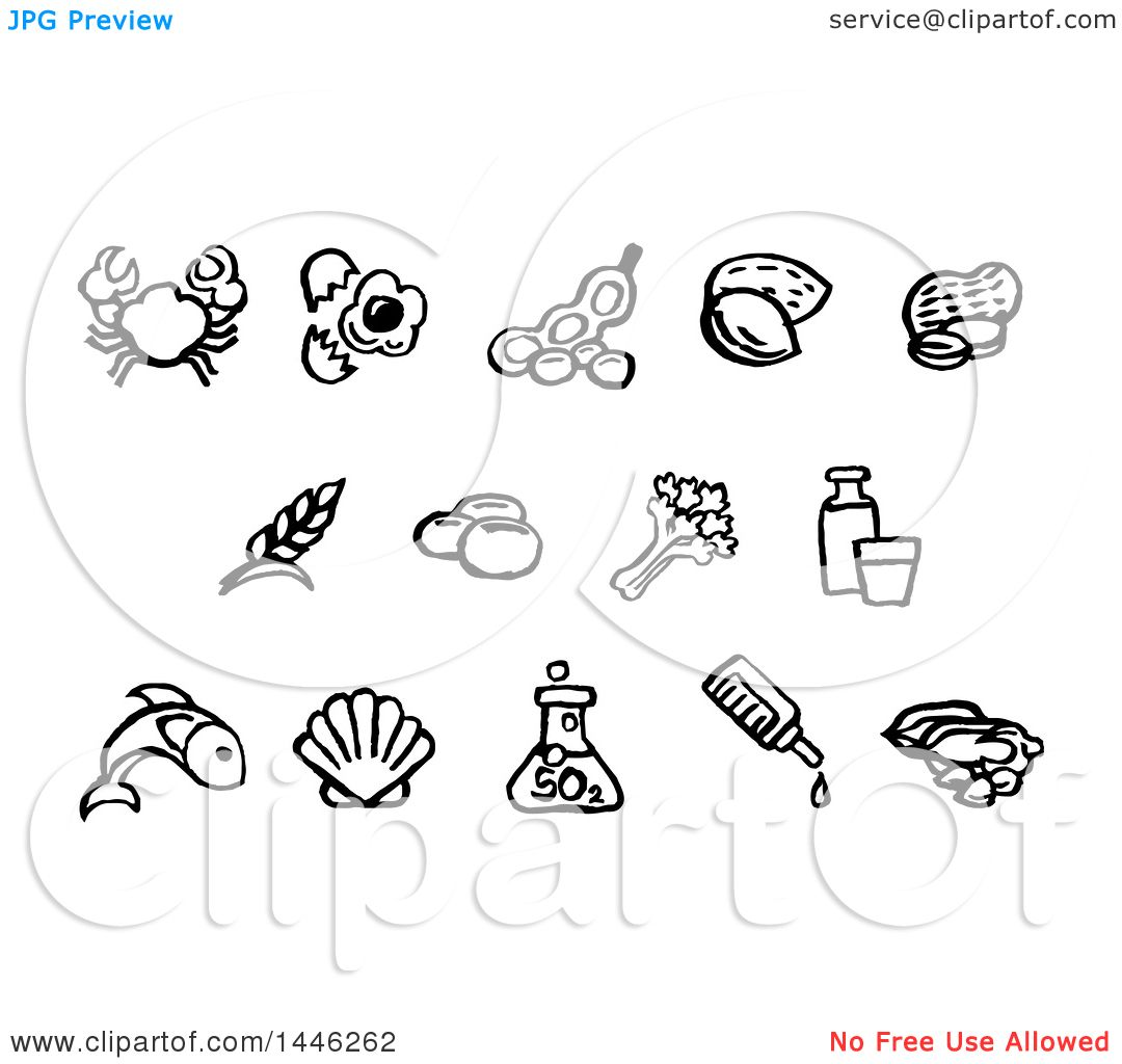 Clipart Of Black And White Watercolor Styled Food Safety