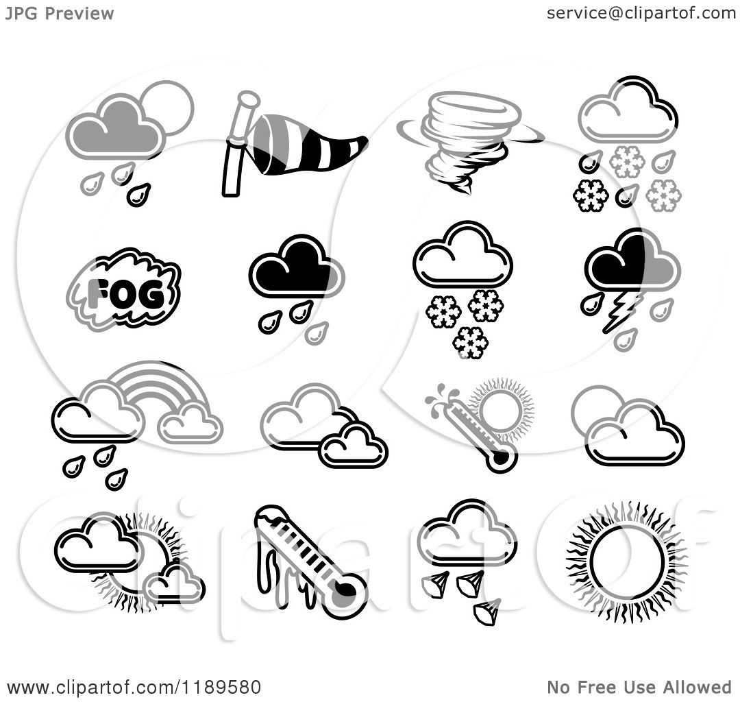 hight resolution of clipart of black and white weather forecast icons royalty free vector illustration by atstockillustration