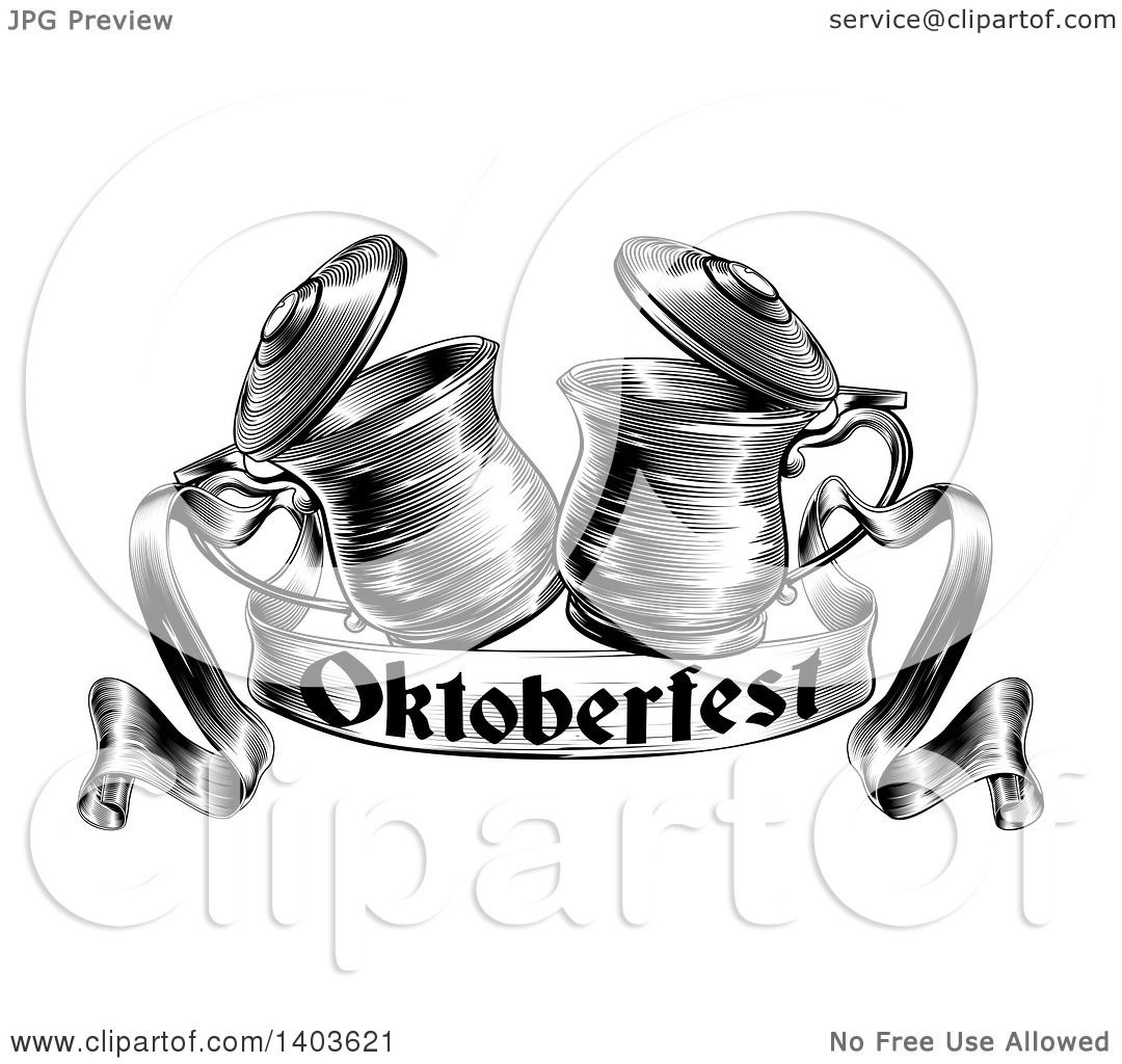 Clipart Of Black And White Woodcut Or Engraved Beer Steins
