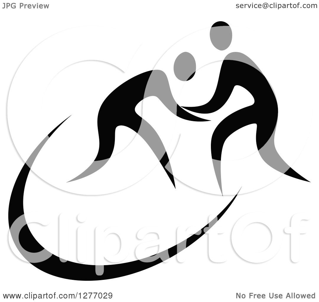 Clipart Of Black And White Wrestlers In Action