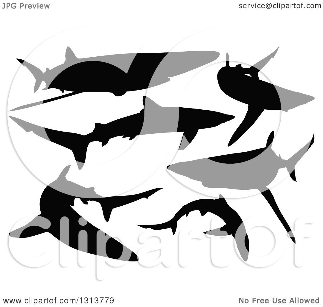 Clipart Of Black Silhouetted Swimming Blue Sharks