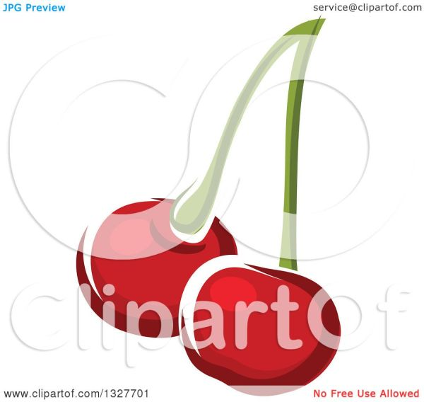 Clipart Of Cartoon Cherries Stem - Royalty Free