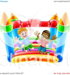 clipart of cartoon happy white and black boys jumping on a bouncy house castle royalty [ 1080 x 1024 Pixel ]