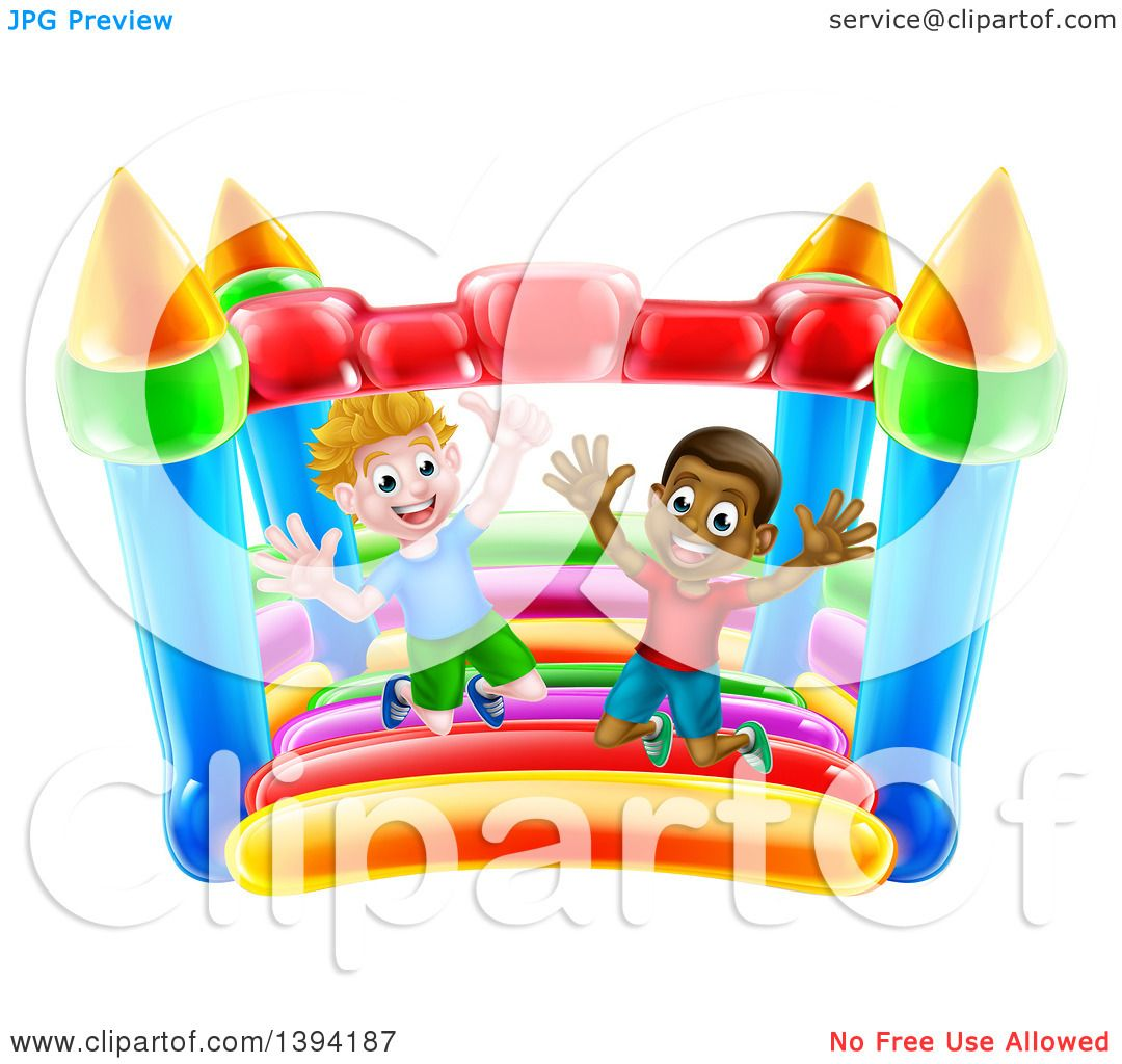 hight resolution of clipart of cartoon happy white and black boys jumping on a bouncy house castle royalty