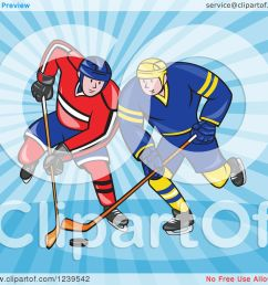 clipart of cartoon hockey players over blue rays royalty free vector illustration by patrimonio [ 1080 x 1024 Pixel ]