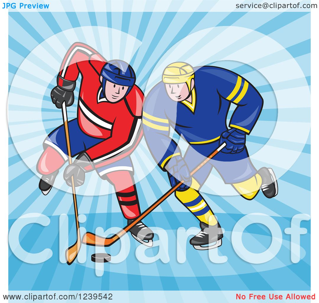 hight resolution of clipart of cartoon hockey players over blue rays royalty free vector illustration by patrimonio