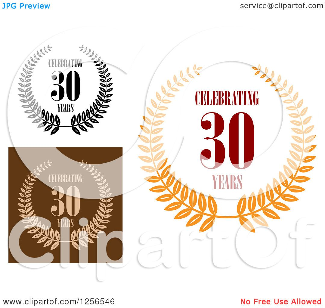 Download Clipart of Celebrating 30 Years Anniversary Designs ...