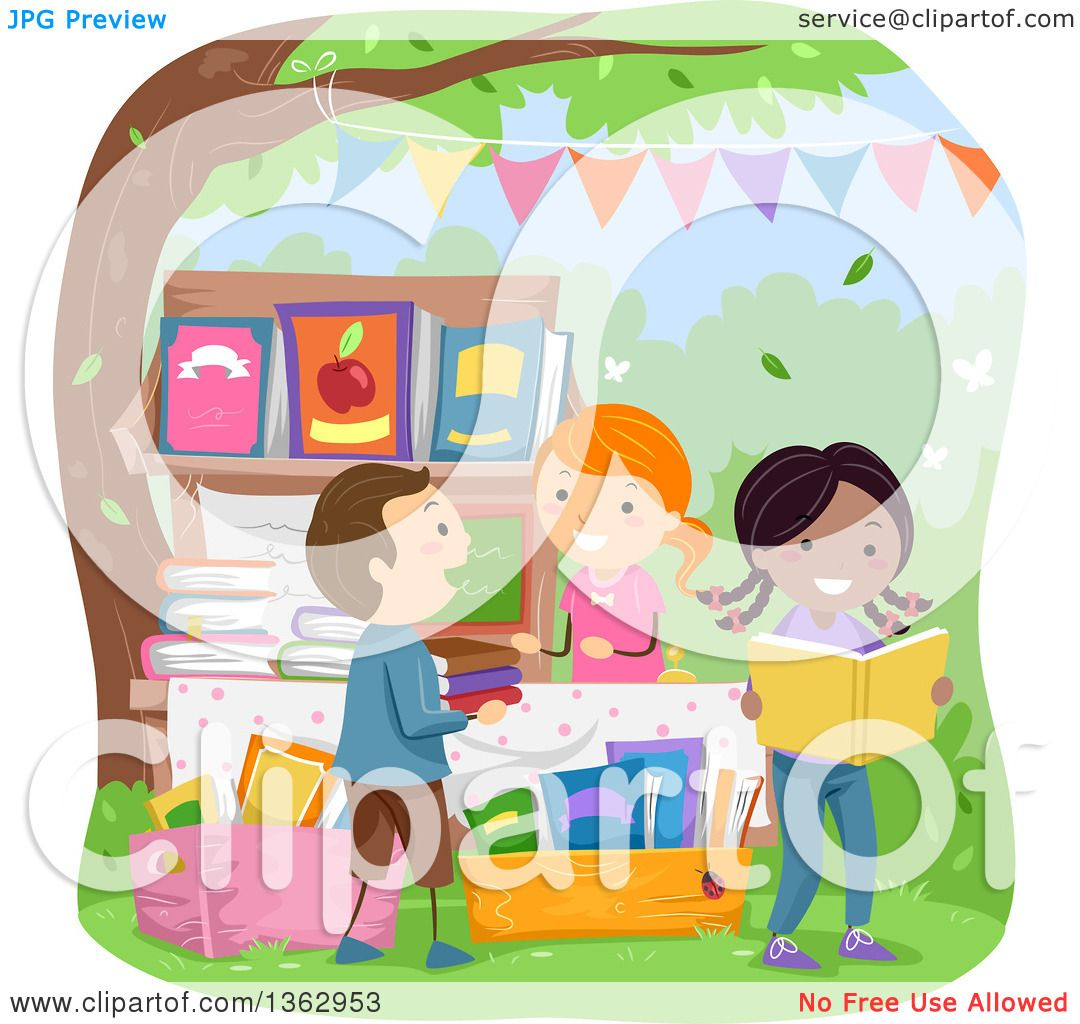 hight resolution of clipart of children shopping for books at a yard sale royalty free vector illustration by