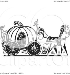 clipart of cinderella in a pumpkin carriage black and white woodcut royalty free vector illustration [ 1080 x 1024 Pixel ]