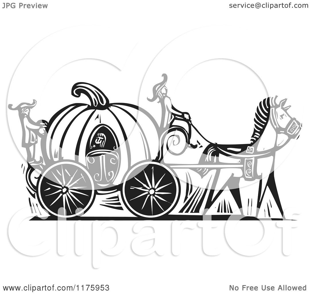 hight resolution of clipart of cinderella in a pumpkin carriage black and white woodcut royalty free vector illustration