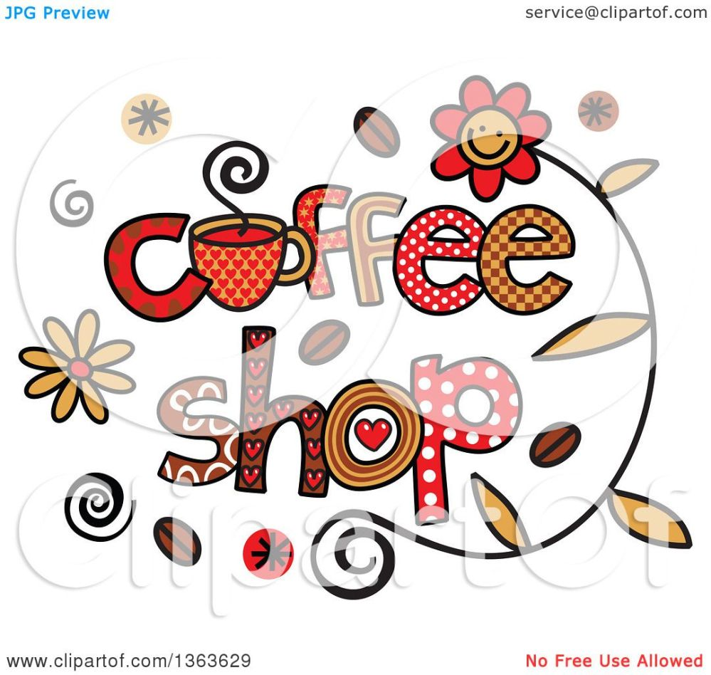 medium resolution of clipart of colorful sketched coffee shop word art royalty free vector illustration by prawny