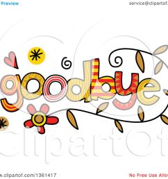 clipart of colorful sketched goodbye word art royalty free vector illustration by prawny [ 1080 x 1024 Pixel ]