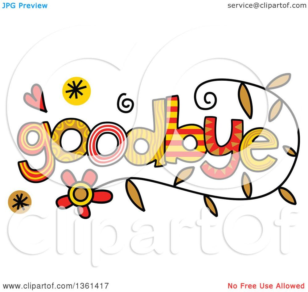medium resolution of clipart of colorful sketched goodbye word art royalty free vector illustration by prawny