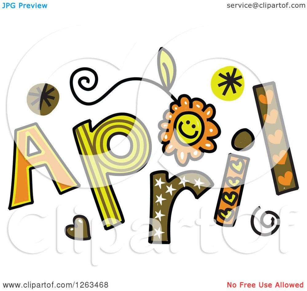 medium resolution of clipart of colorful sketched month of april text royalty free vector illustration by prawny