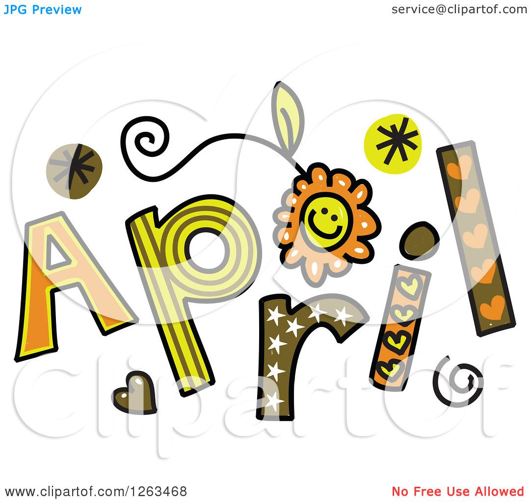 hight resolution of clipart of colorful sketched month of april text royalty free vector illustration by prawny