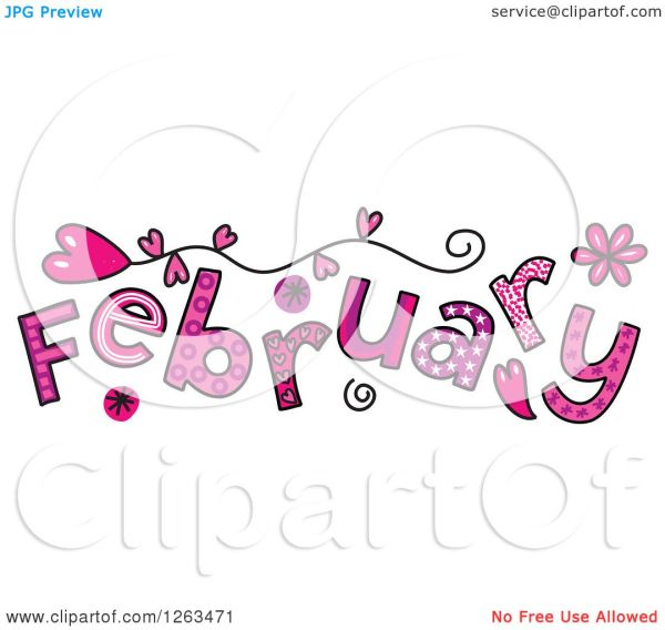 clipart of colorful sketched month
