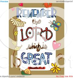 clipart of colorful sketched scripture remember the lord which is great text in a tan border [ 1080 x 1024 Pixel ]
