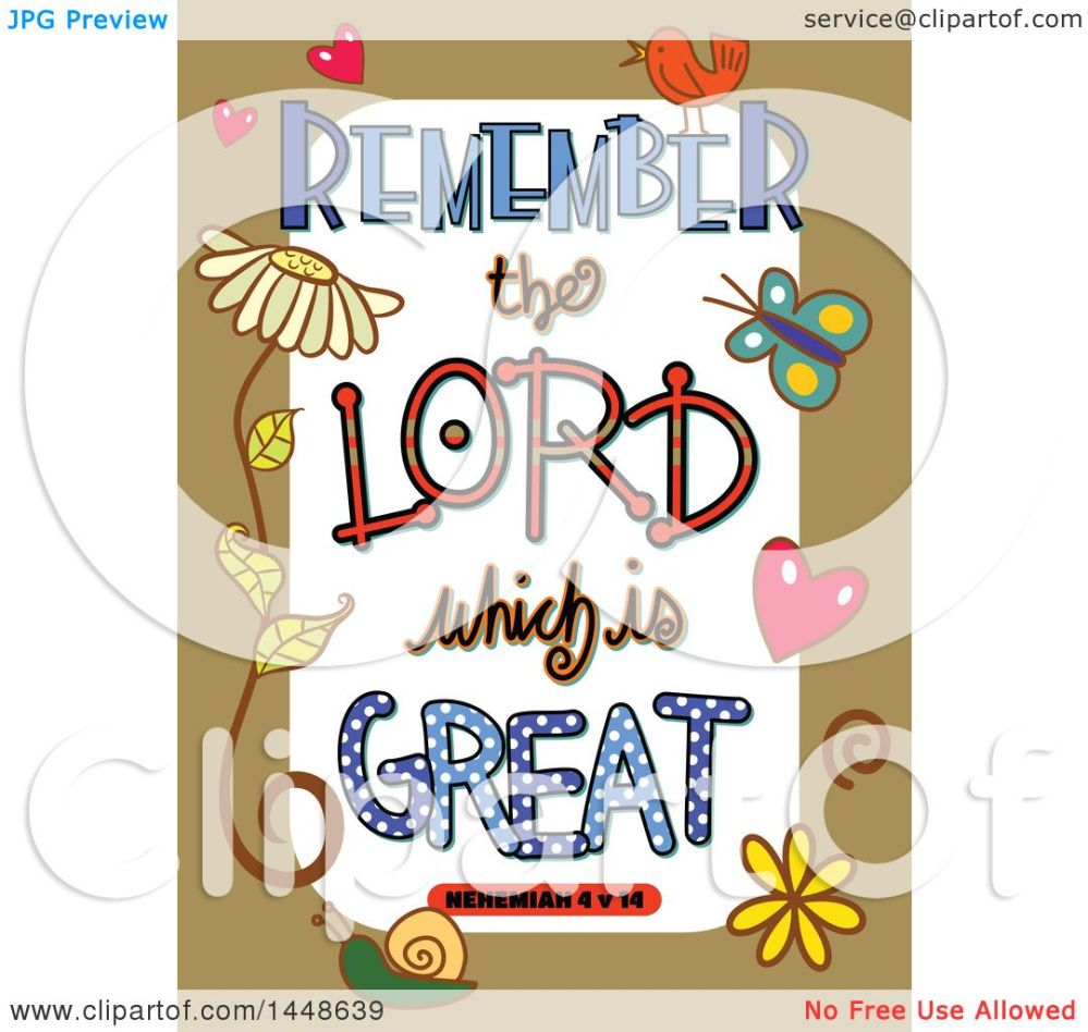 medium resolution of clipart of colorful sketched scripture remember the lord which is great text in a tan border