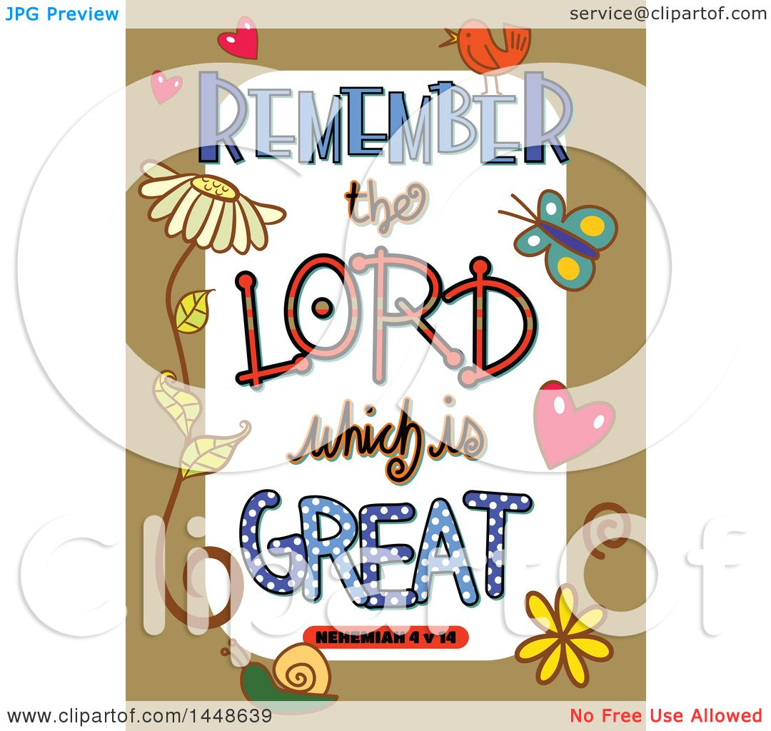 hight resolution of clipart of colorful sketched scripture remember the lord which is great text in a tan border